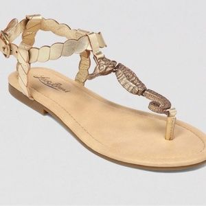 LUCKY BRAND Gold Embellished Sea Horse Sandal 8.5